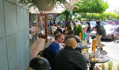 Sunny south facing patio during the Oak Bay Tea party.